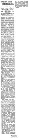 Secession Urged in Lower Canada (New York Times, 11 July 1917 )